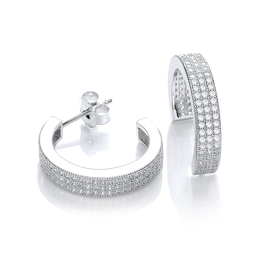 Micro Pave' Square Cz Half Tube Hoop