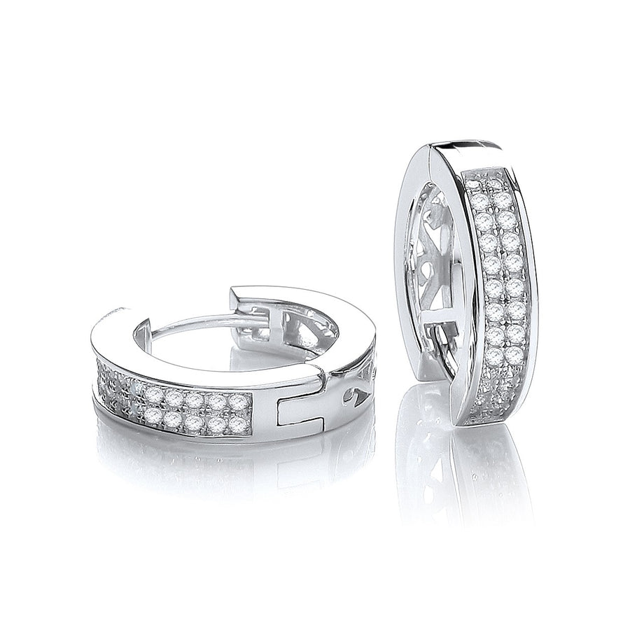Micro Pave' Square Half Tube Hoop with Cz