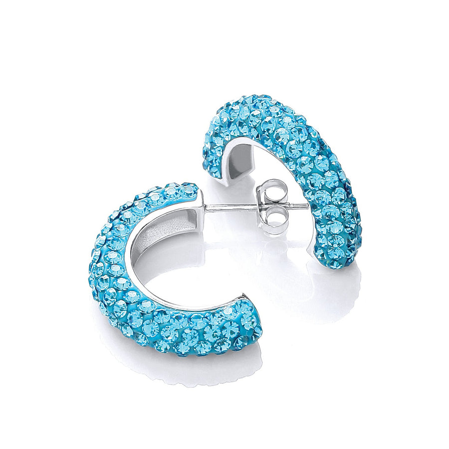 Half Hoop Stud with Light Blue Cz