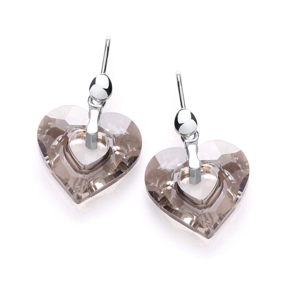Swarovski Crystal Heart Shape Drop Earrings