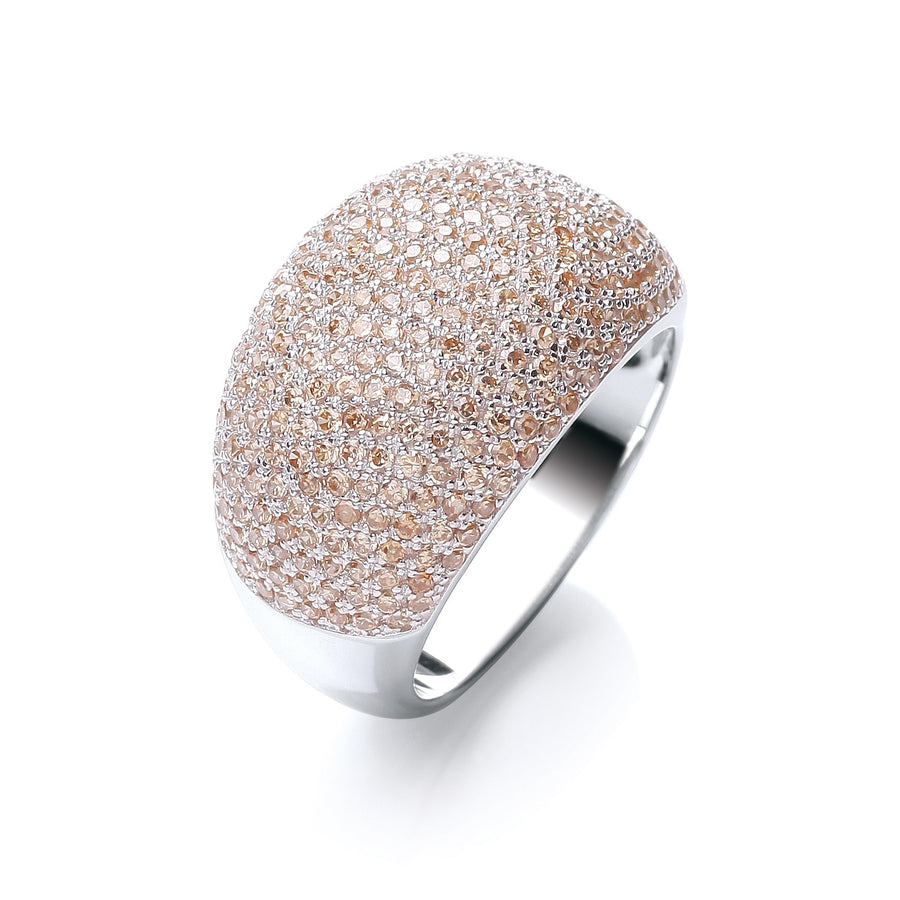 Micro Pave' Cocktail Ring 283 Champagne Cz