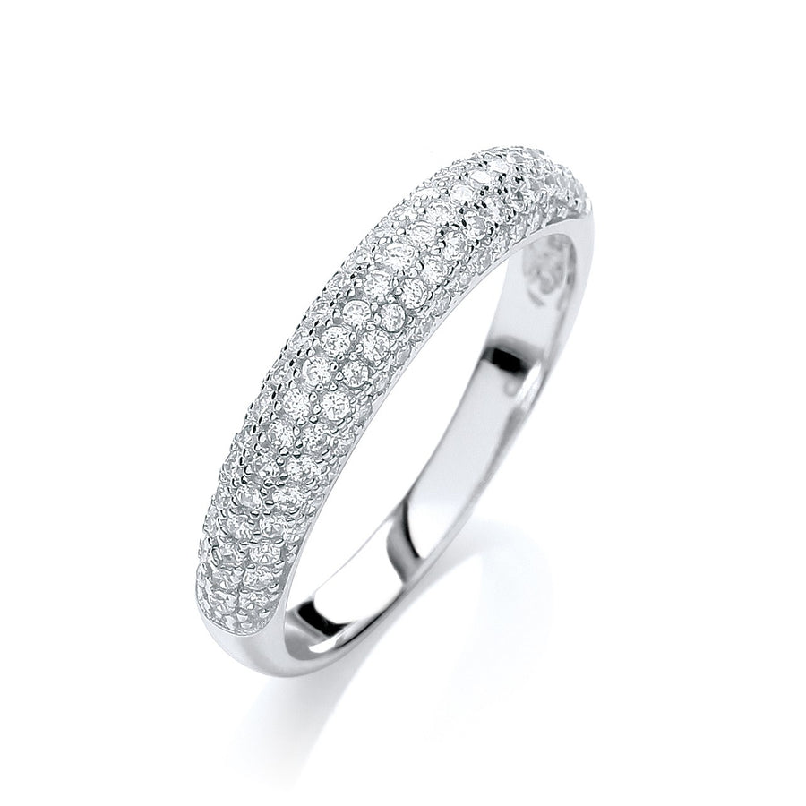 Micro Pave' Dome Ring White Cz