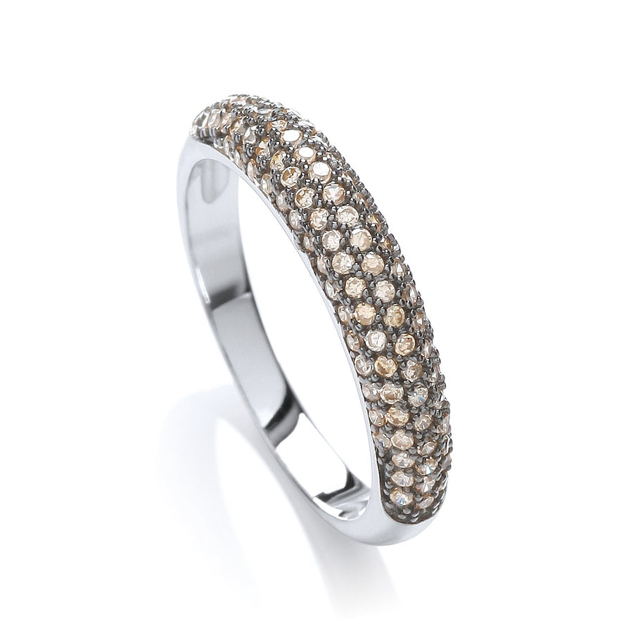 Micro Pave' Dome Ring Champagne Cz