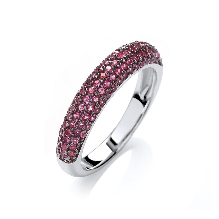 Micro Pave' Dome Ring Deep Pink Cz