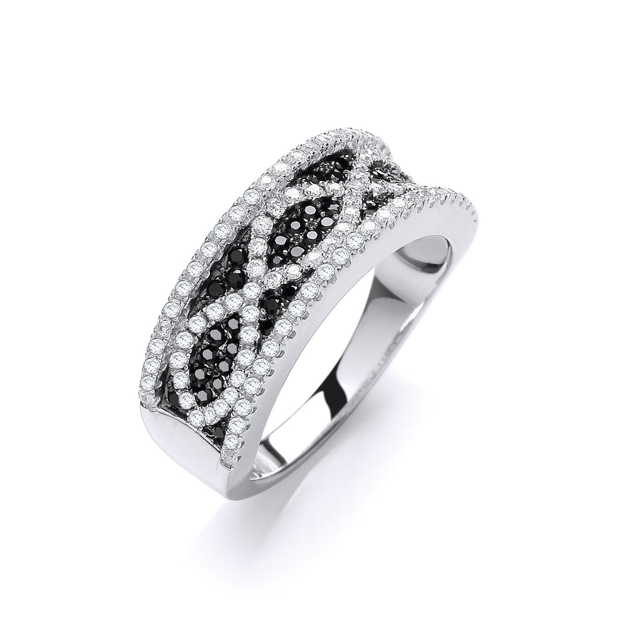 Micro Pave' Black/White Cz Ring