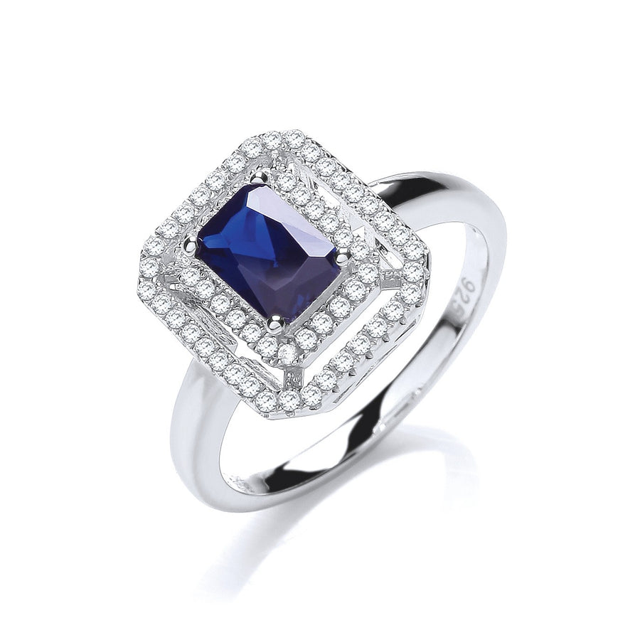 Micro Pave' Blue Centre Cz Ring
