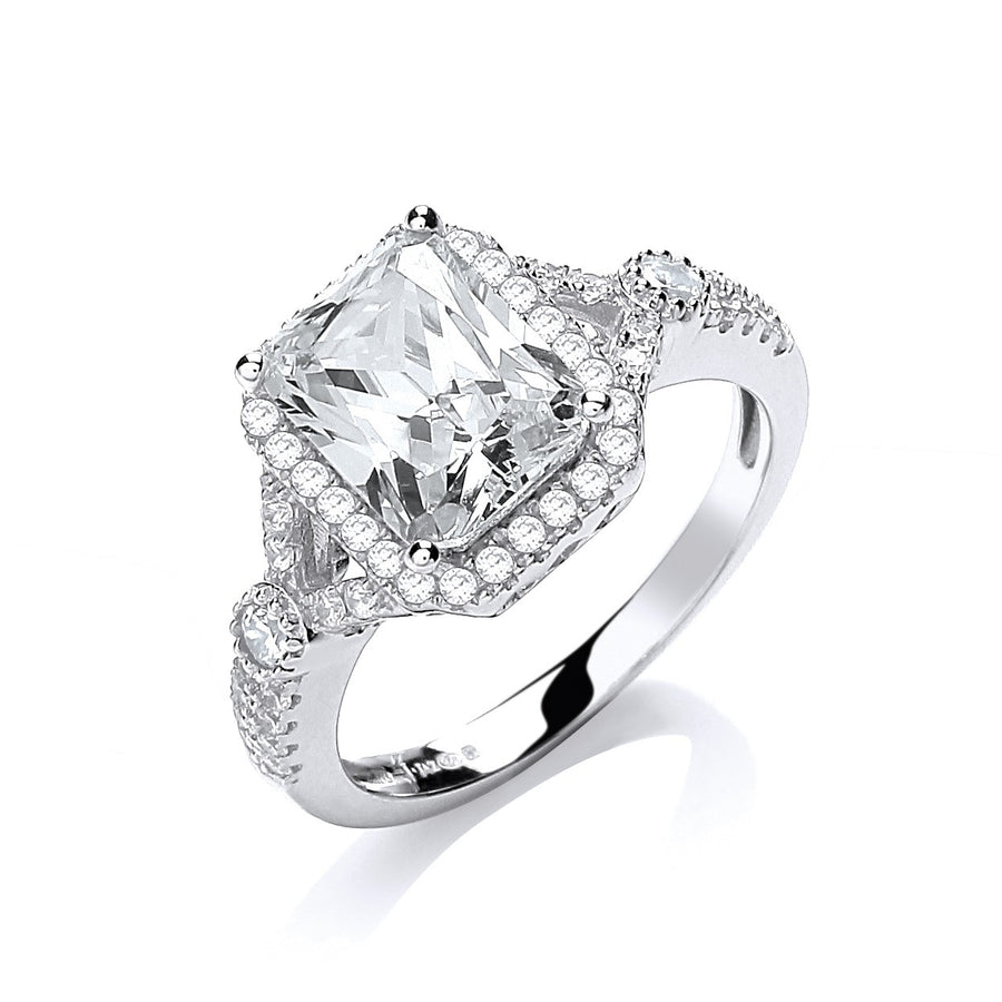 Micro Pave' Emerald Cut Centre Cz Ring