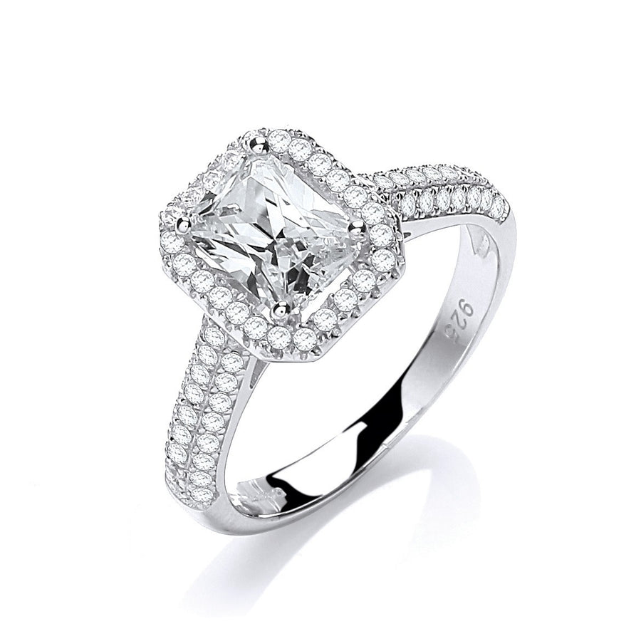 Micro Pave' Emerald Cut Centre with Shoulder Cz's Ring