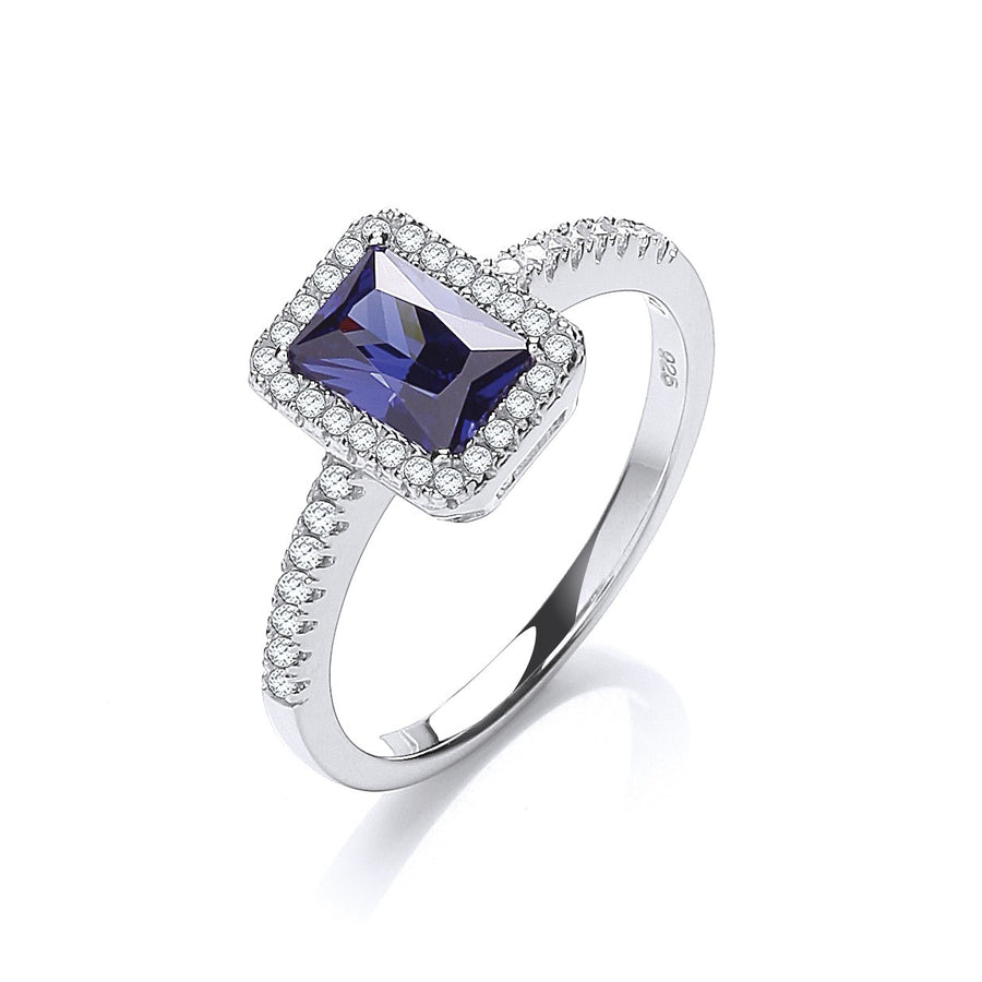 Micro Pave' Emerald Cut Blue Cz Ring