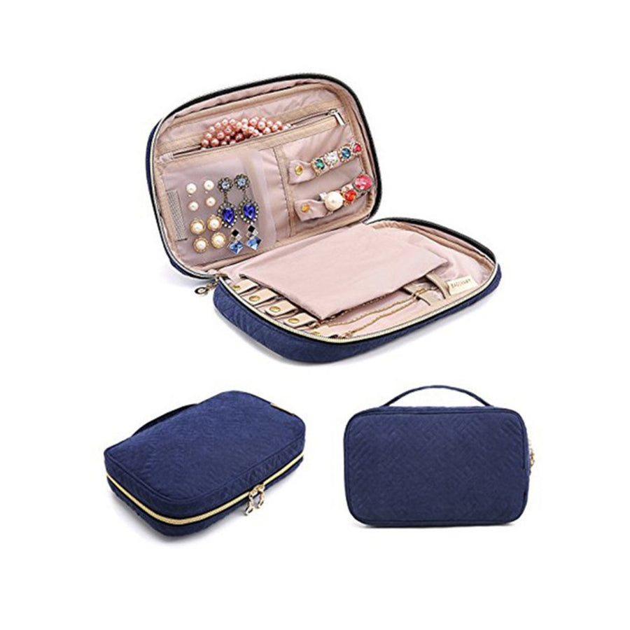 Clara Navy Blue Large Travel Jewellery Case
