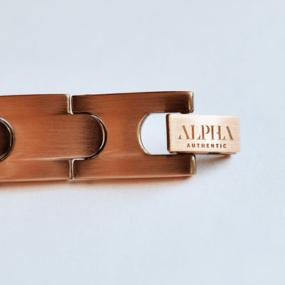 ALPHA logo engraved onto clasp