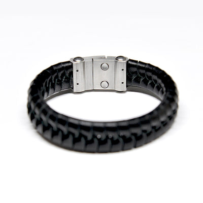 Mens Designer wide leather bracelet