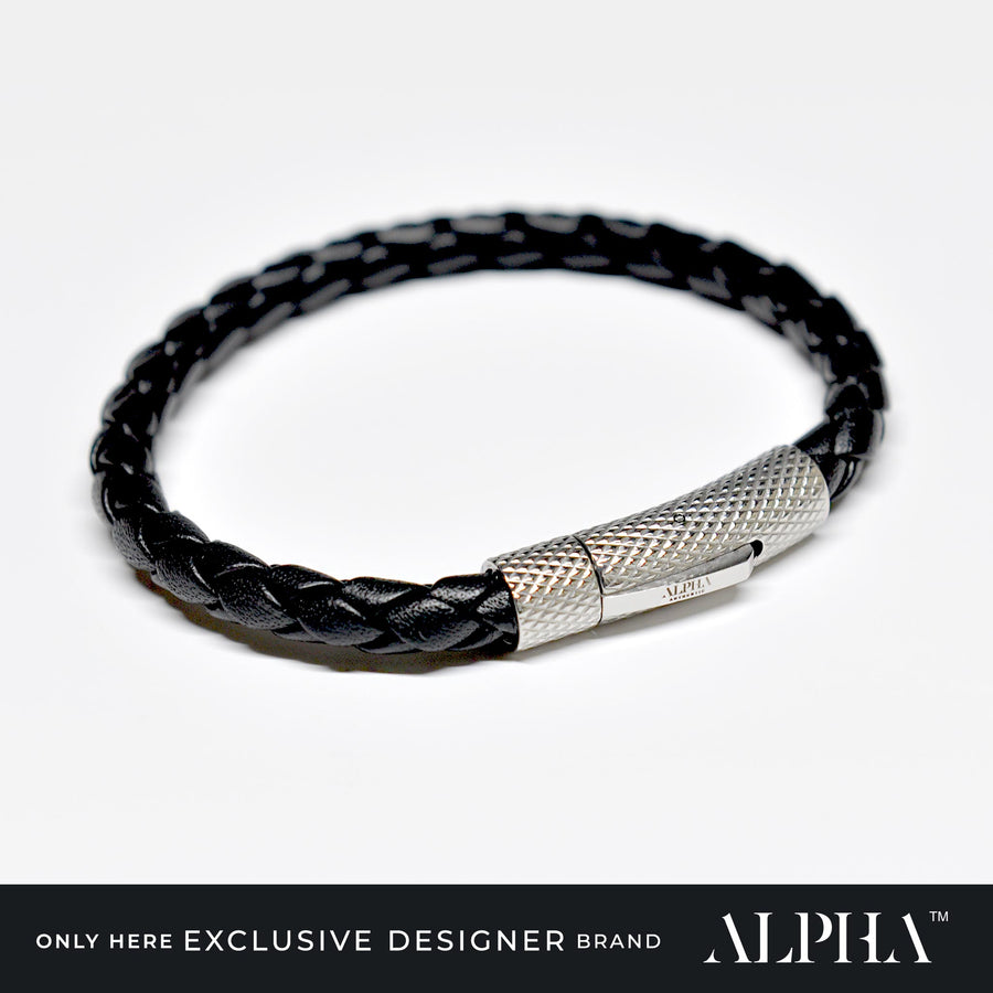 Princeton Braided Black Leather Bracelet