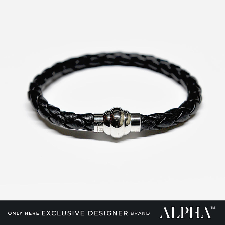 Jet Leather Woven Bracelet