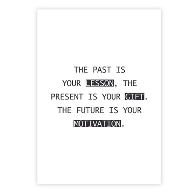The past is your lesson, the present is your gift. The future is your motivation.