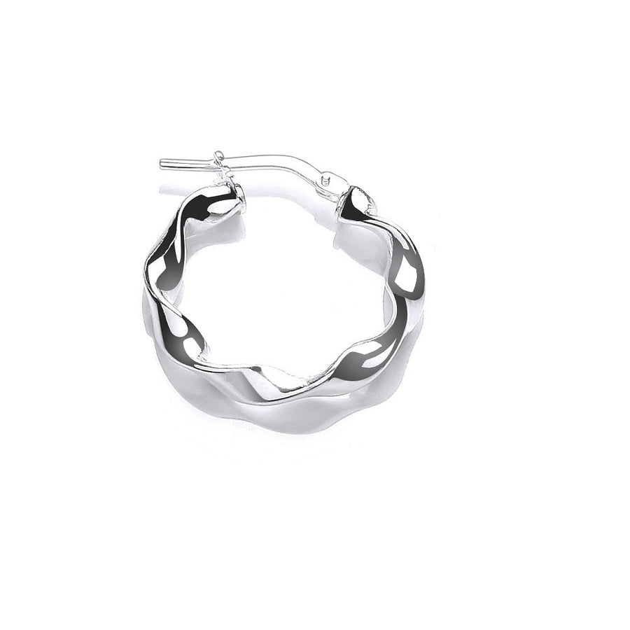 Silver Small Round Twist Hoop Earrings
