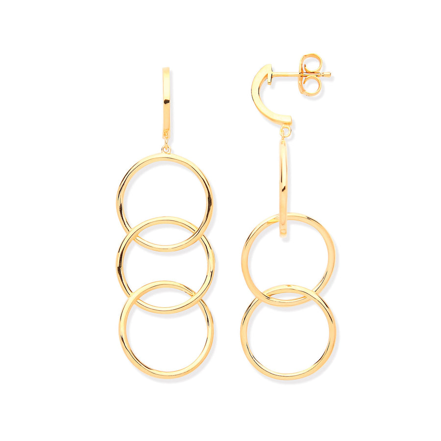 YG Plated Silver Circles Drop Earrings