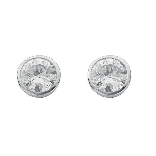 Silver Rd.Bril. Cut Rub Over Setting 8mm Cz Stud Earrings