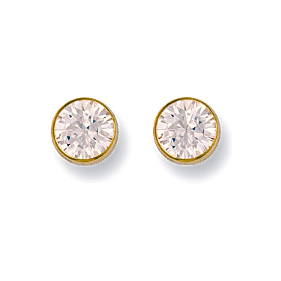 9ct Y/G 7mm Rubover Set Cz Studs