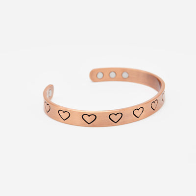 womens magnetic copper heart bangle