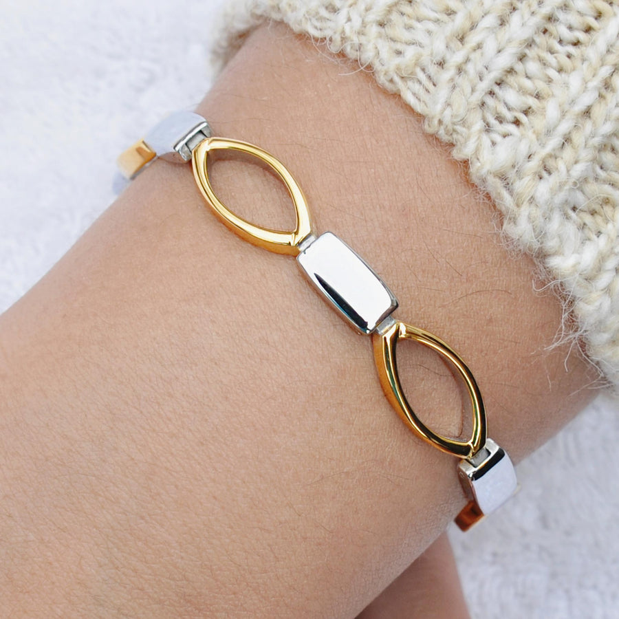 Infinity silver and gold magnetic bracelet
