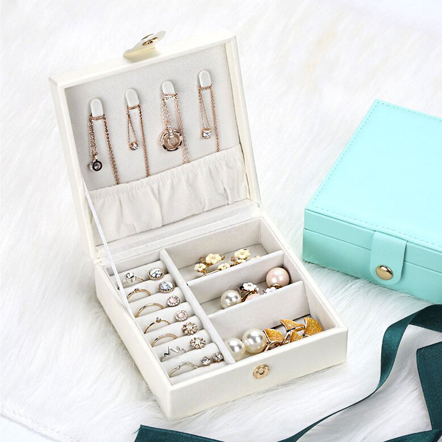 Allegra square travel jewellery case cotton white