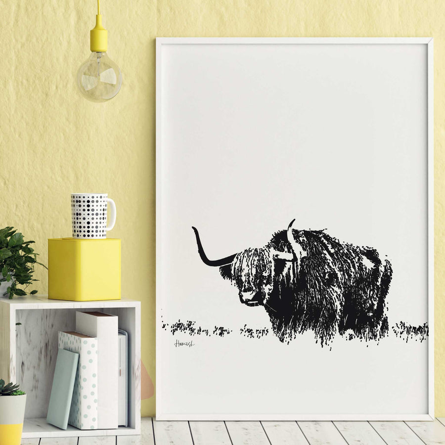 highland cow art print
