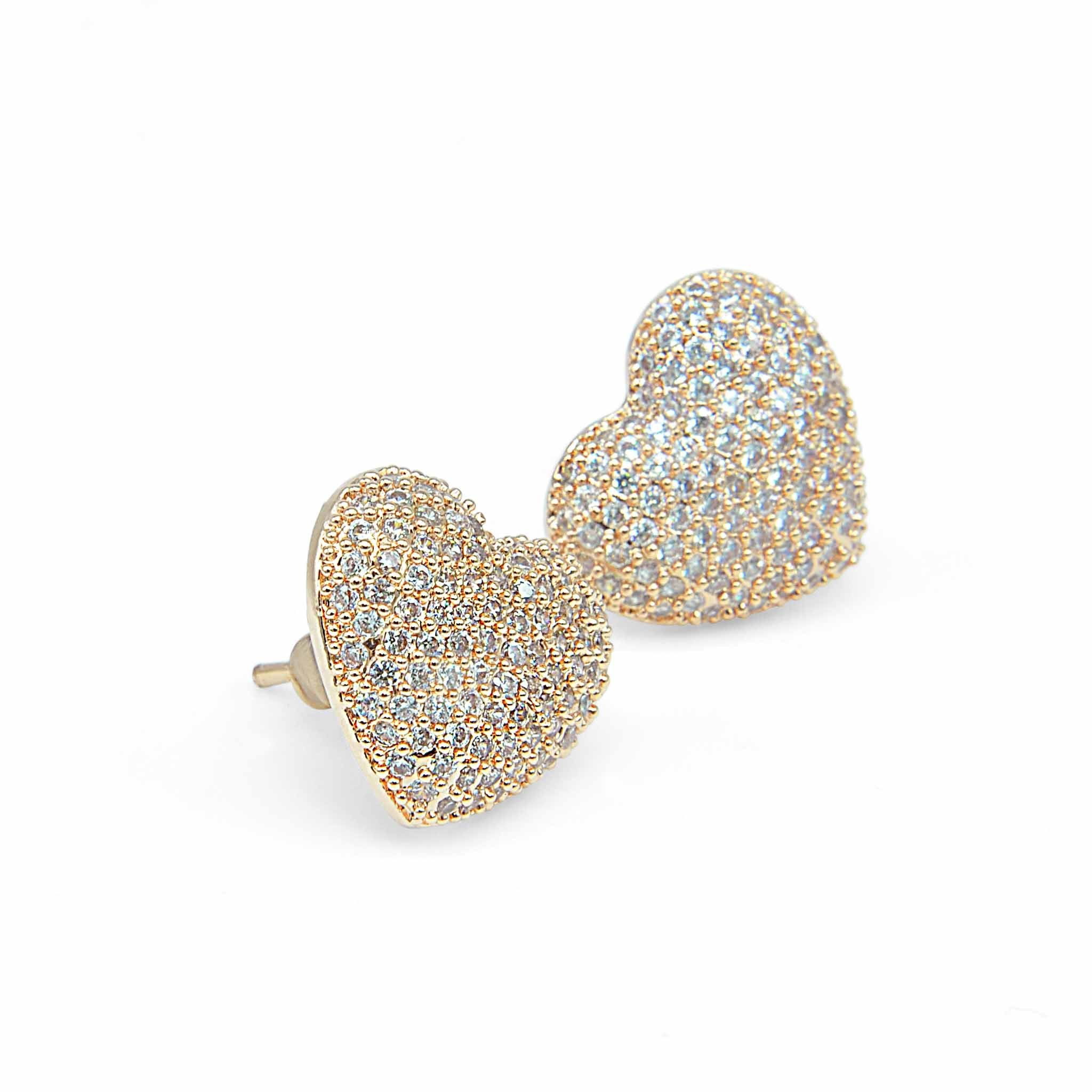 Dont break my heart rose gold crystal studs-DEMI+CO Jewellery