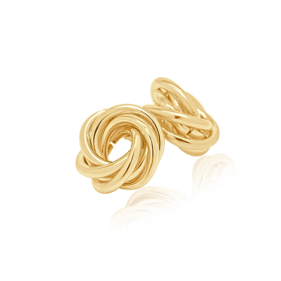 Halo intertwined gold effect stud earrings