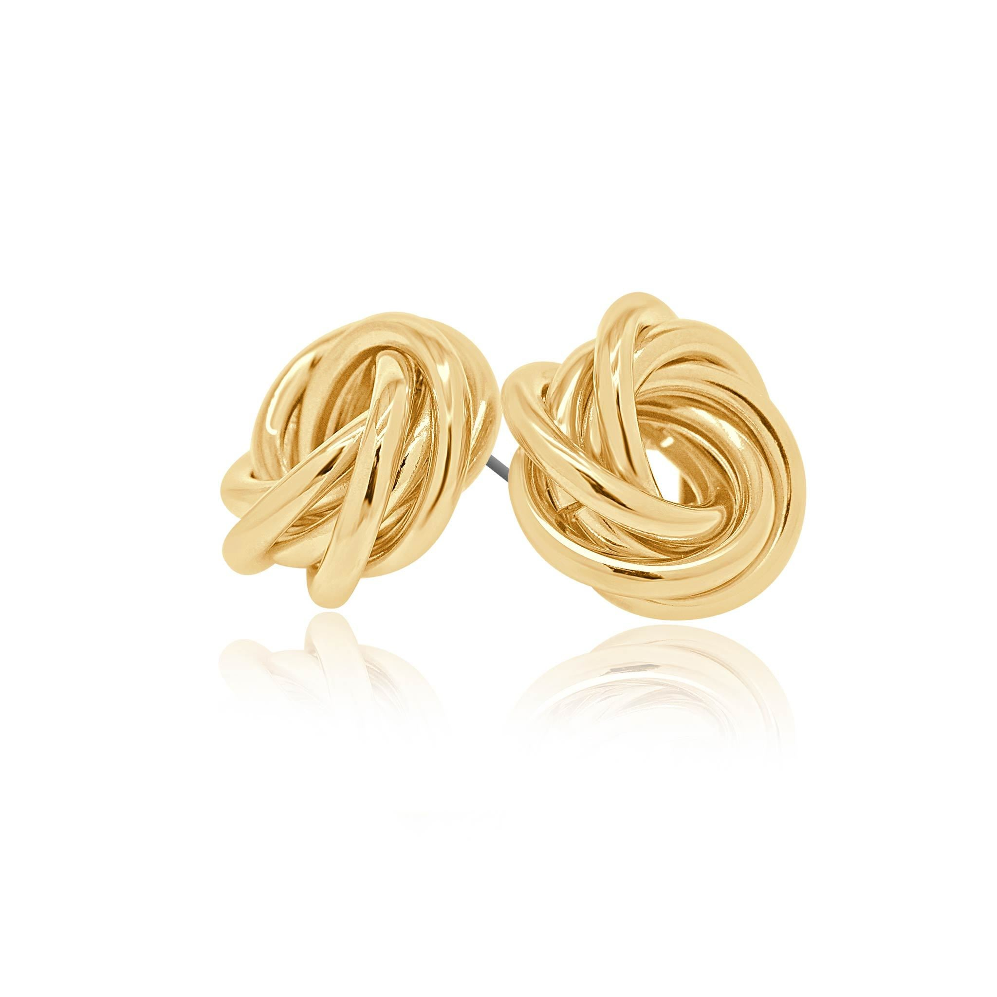 Halo intertwined gold studs-DEMI+CO Jewellery
