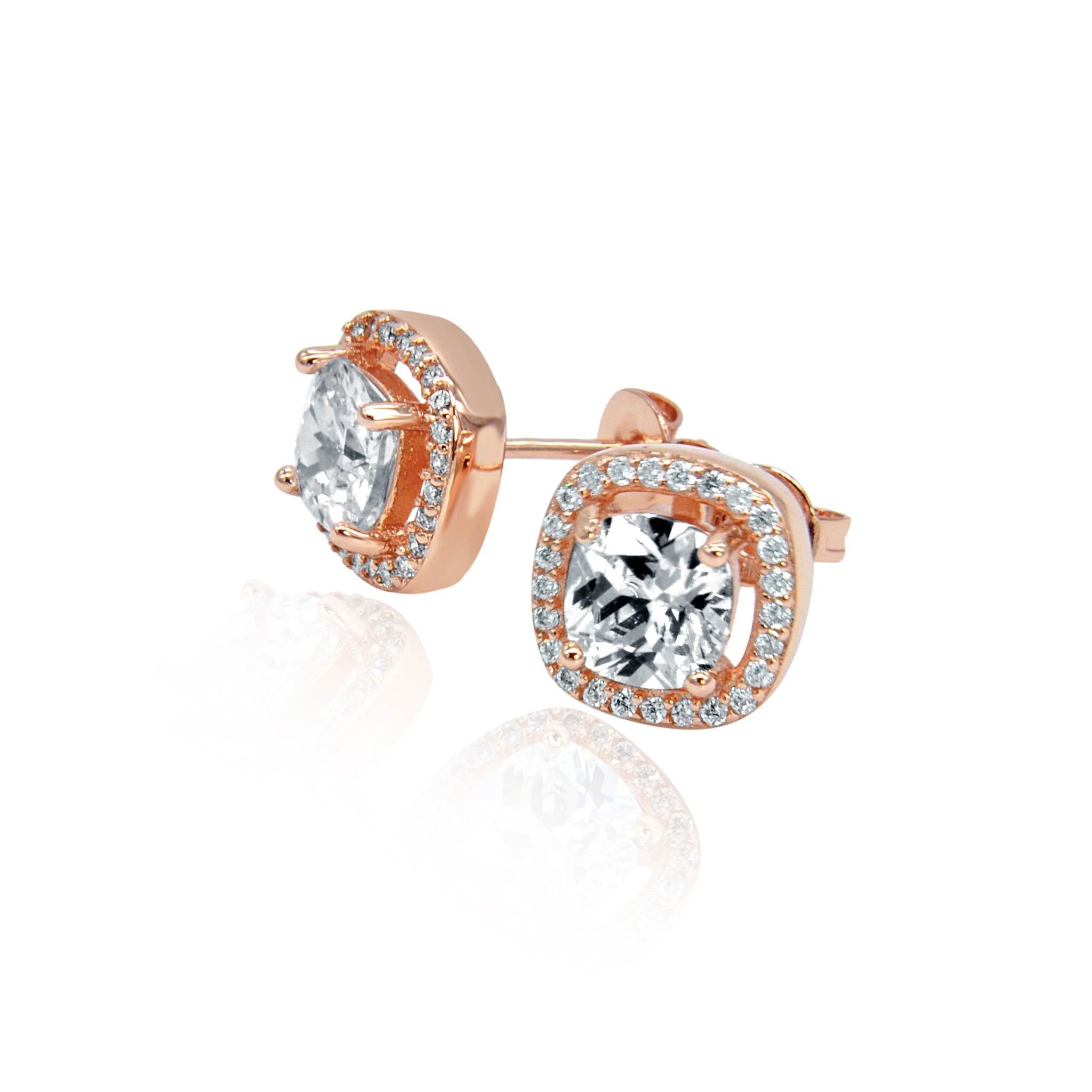 Rose gold crystal stud earrings 2 -DEMI+CO Jewellery