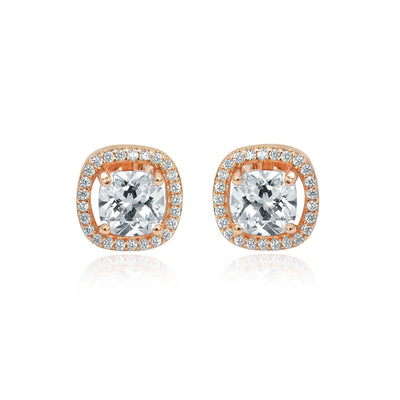 Rose gold crystal stud earrings face on-DEMI+CO Jewellery