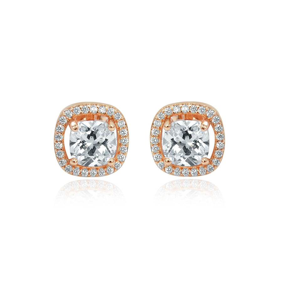 Rose gold effect crystal stud earrings Harper