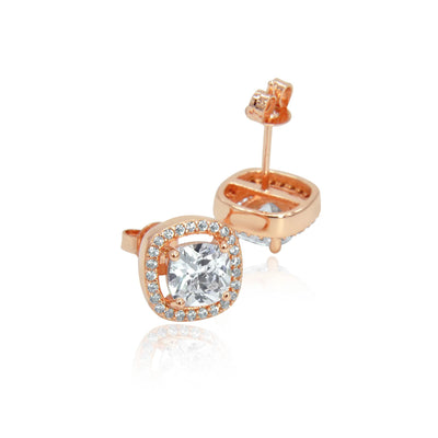 Rose gold crystal stud earrings pair -DEMI+CO Jewellery