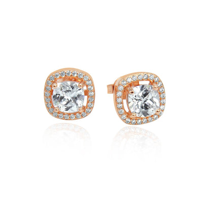Rose gold crystal stud earrings face on angle -DEMI+CO Jewellery