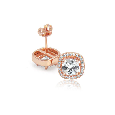 Rose gold crystal stud earrings side by side -DEMI+CO Jewellery