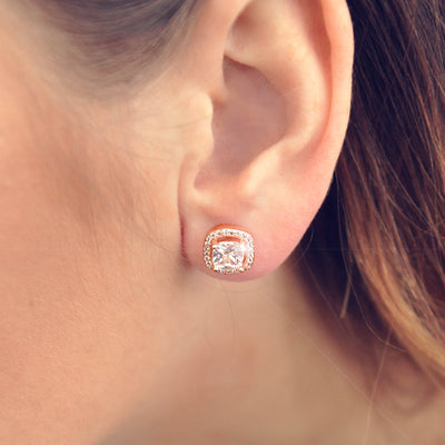 Rose gold crystal stud earrings - DEMI+CO Jewellery