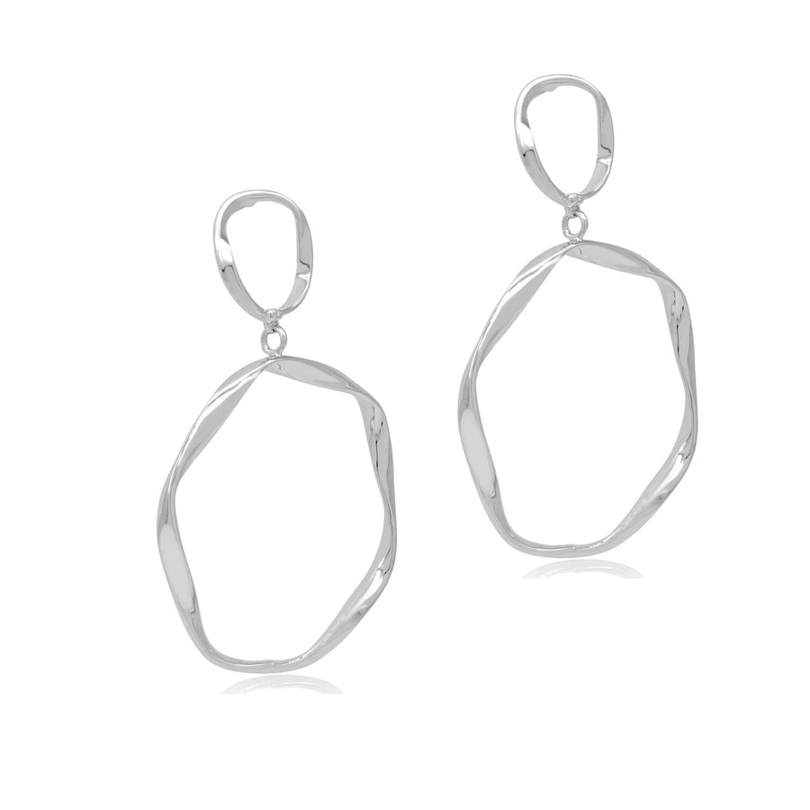 Isla silver double hoop earrings-DEMI+CO Jewellery