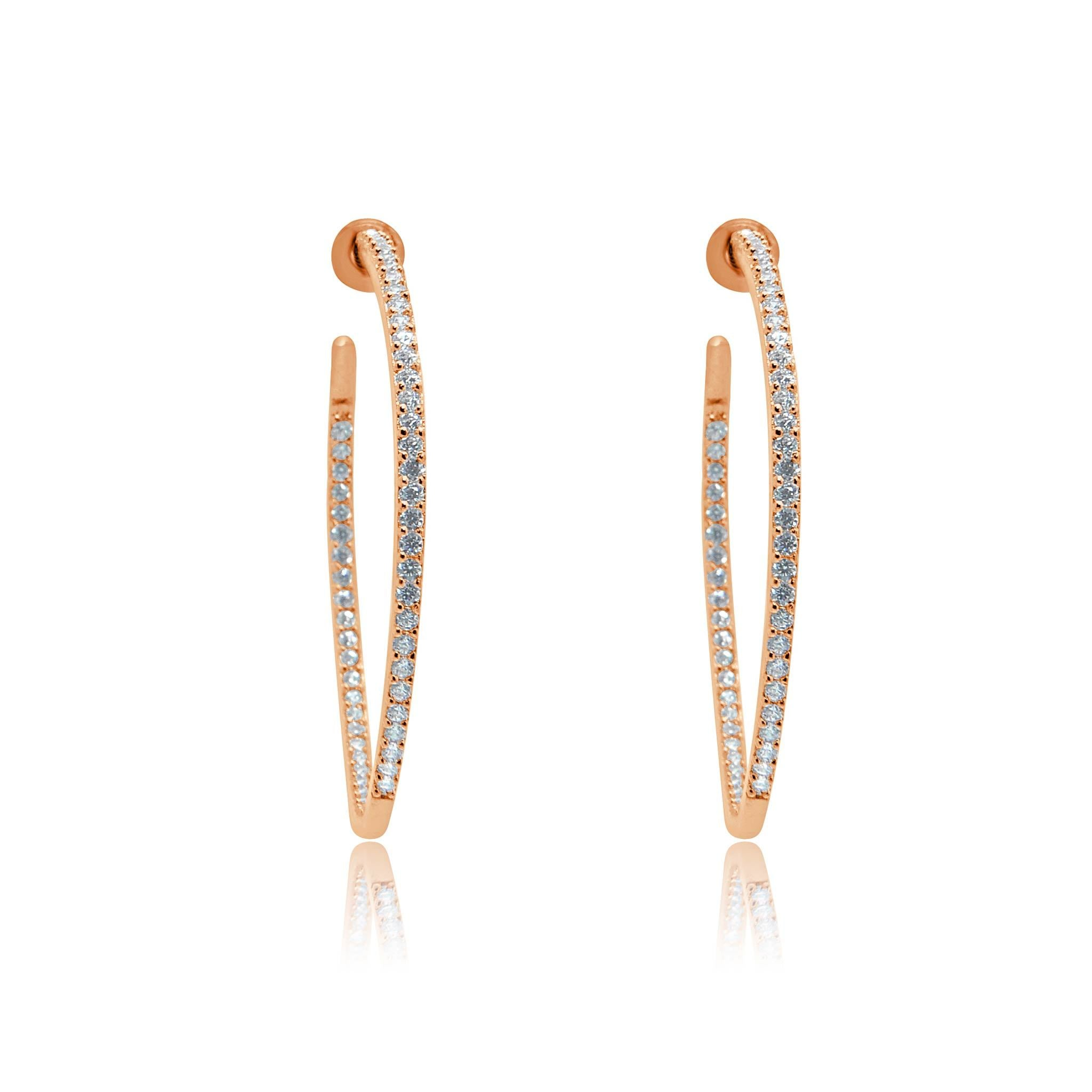 Jasmine crystal rose gold hoops-DEMI+CO Jewellery