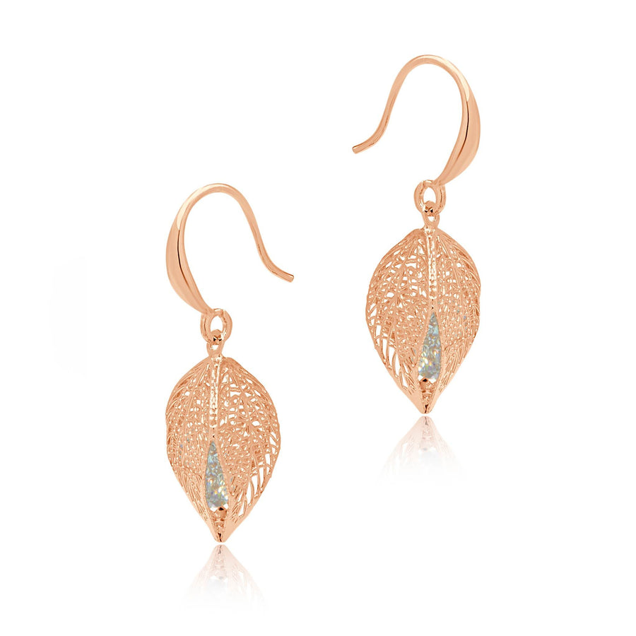 Kelsey rose gold 3D leaf Earrings