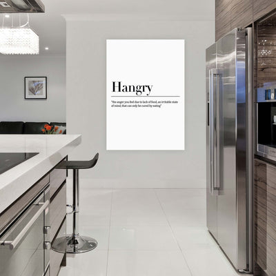 Hangry- 'the anger you feel due to lack of food, an irritable state of mind, that can only be cured by eating'