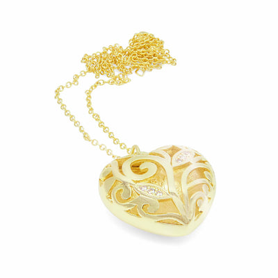Lily love heart gold and crystal necklace-DEMI+CO Jewellery