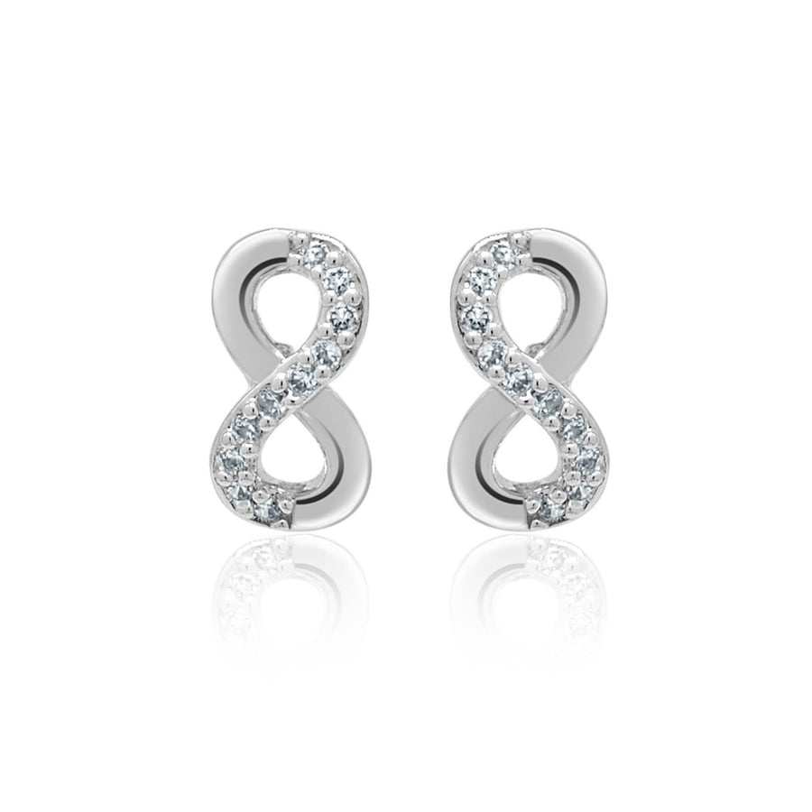 Love infinite silver stud earrings-DEMI+CO Jewellery