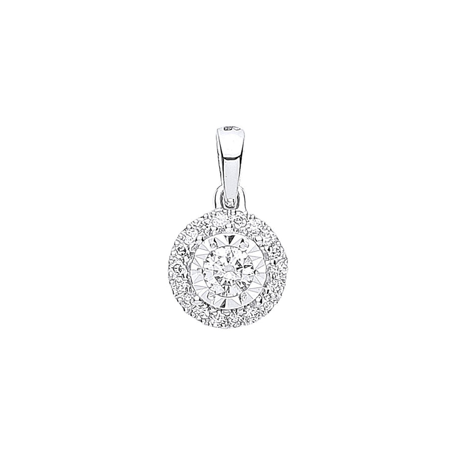 18ct White Gold Halo 0.20ctw Diamond Pendant
