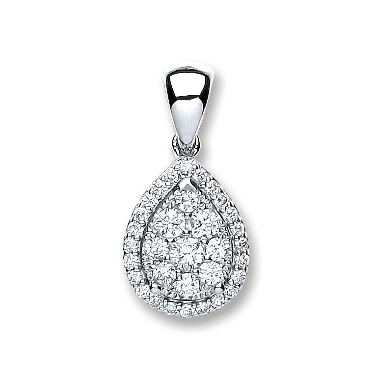 18ct White Gold 0.40ct Diamond Pear Sh Pendant Copy