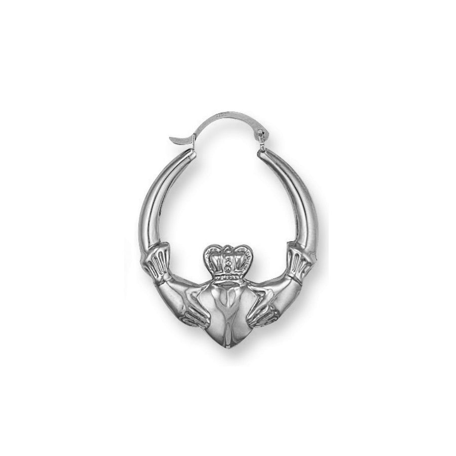 Silver  Claddagh 25mm Creole Earrings