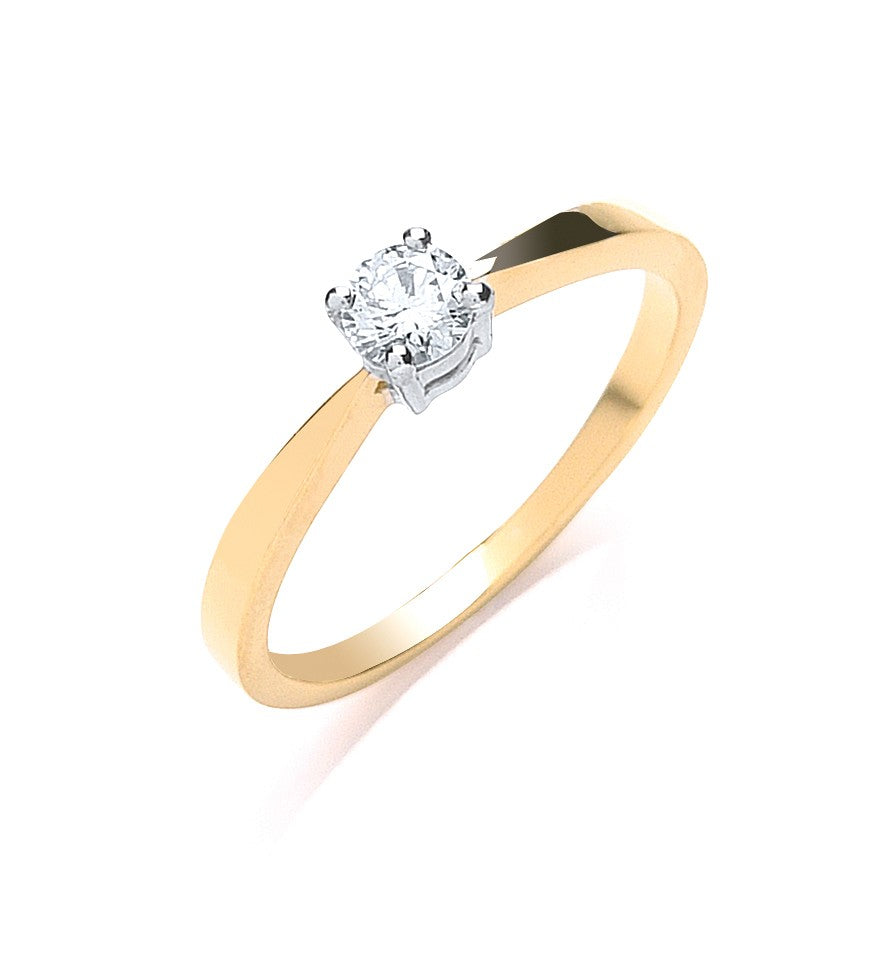 9ct Y/G 0.25ct Diamond Engagement Ring