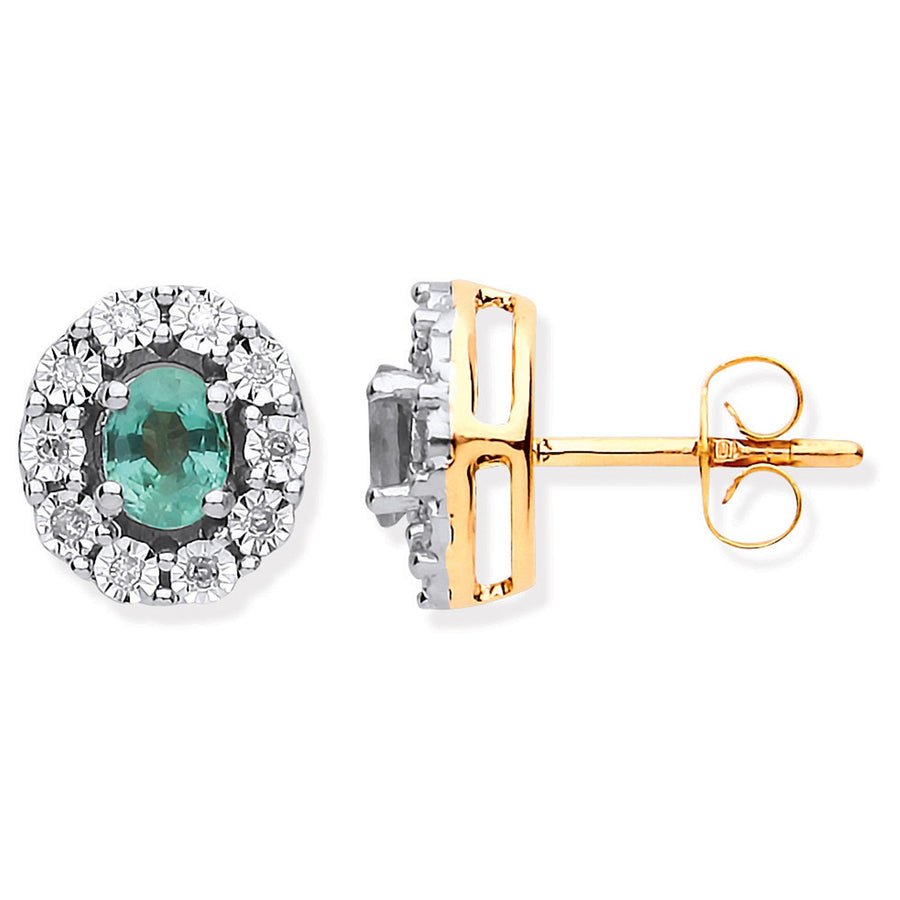 9ct YG 0.60ct Emerald & 0.08ct Diamond Oval Stud Earrings