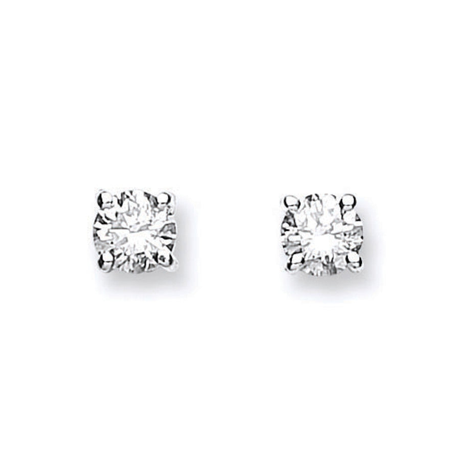18ct White Gold 0.40ct Claw Set Diamond Stud Earrings