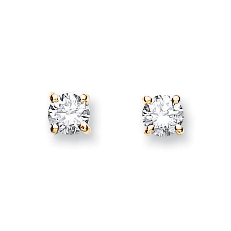 18ct Yellow Gold 0.40ct Claw Set Diamond Stud Earrings